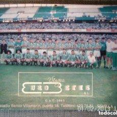 Coleccionismo deportivo: ANTIGUA PUBLICIDAD FOTOGRAFIA PLANTILLA FUTBOL REAL BETIS BALOMPIE - AÑOS 80. Lote 205735281
