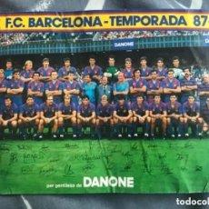 Coleccionismo deportivo: ANTIGUA TARJETA TIPO POSTAL FUTBOL CLUB BARCELONA TEMPORADA 87-88 DANONE FIRMAS IMPRESAS. Lote 205735603