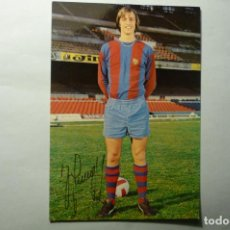 Coleccionismo deportivo: POSTAL FUTBOL JOHAN CRUYFF- F. C. BARCELONA AUTOGRAFO IMPRESO. Lote 206213563