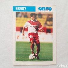 Coleccionismo deportivo: POSTAL HENRY - MÓNACO, ARSENAL, FC BARCELONA, FRANCIA (FICHA ONZE MONDIAL). Lote 206926216