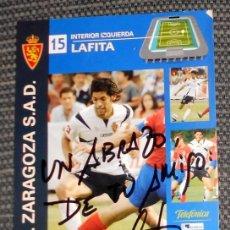 Coleccionismo deportivo: POSTAL FIRMADA CON DEDICATORIA - FÚTBOL - REAL ZARAGOZA - MIGUEL ANGEL LAFITA. Lote 209926861