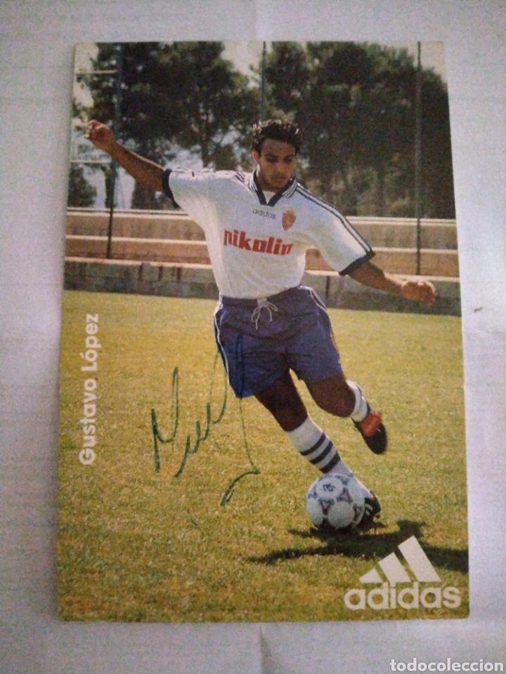 POSTAL REAL ZARAGOZA ADIDAS GUSTAVO LOPEZ (Coleccionismo Deportivo - Postales de Deportes - Fútbol)