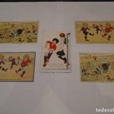 Coleccionismo deportivo: LOTE DE 5 POSTALES ORIGINALES DE FOOT BALL / FUTBOL AÑOS 40. Lote 214213063