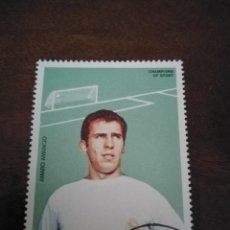 Coleccionismo deportivo: SELLO FUTBOLISTA AMANCIO AMARO, REAL MADRID. PAÍS AJMAN. GRANDE.. Lote 217989897