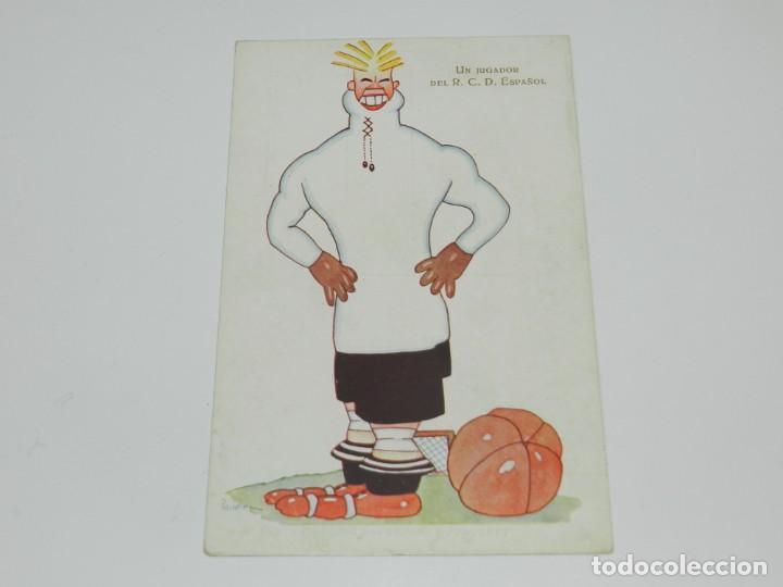 RCD ESPAÑOL - RICARDO ZAMORA , UN JUGADOR DEL RCD ESPAÑOL ILUSTRADO POR PASSARELL , POSTAL ANTIGUA (Coleccionismo Deportivo - Postales de Deportes - Fútbol)