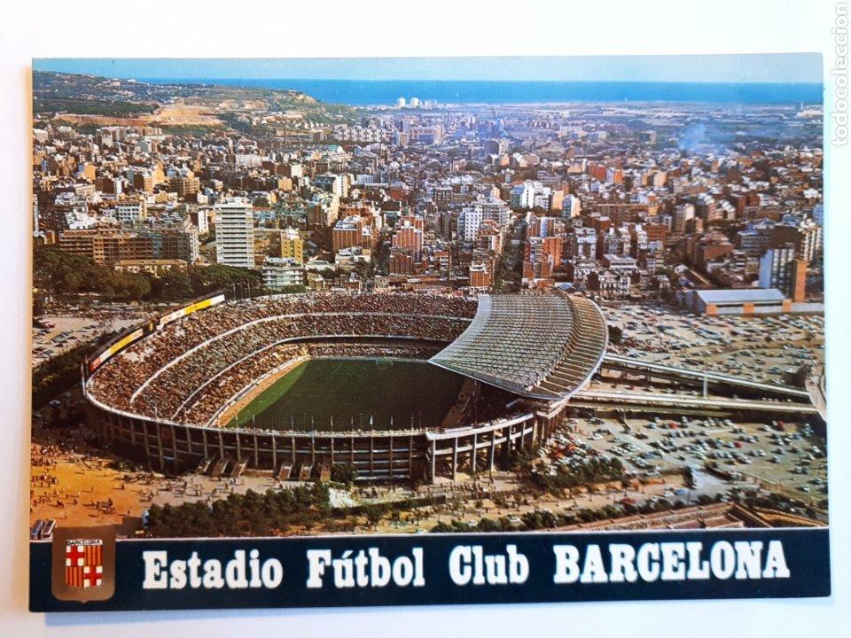 ESTADIO FÚTBOL CLUB BARCELONA, VISTA AÉREA. POSTAL (Coleccionismo Deportivo - Postales de Deportes - Fútbol)