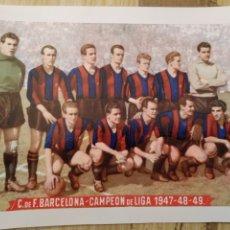 Coleccionismo deportivo: POSTAL C.DE.F.BARCELONA CAMPEÓN DE LIGA 1947-48-49. Lote 221443150