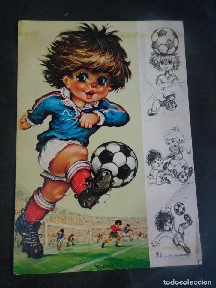 POSTAL ILUSTRACIÓN SELECCION FRANCIA 1978, VER FOTOS (Coleccionismo Deportivo - Postales de Deportes - Fútbol)