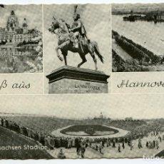 Coleccionismo deportivo: GRUSS AUS HANNOVER. NIEDERSACHSEN STADION. ESTADIO DE FUTBOL, CAMPO DE FÚTBOL, CIRCULADA. Lote 225569995