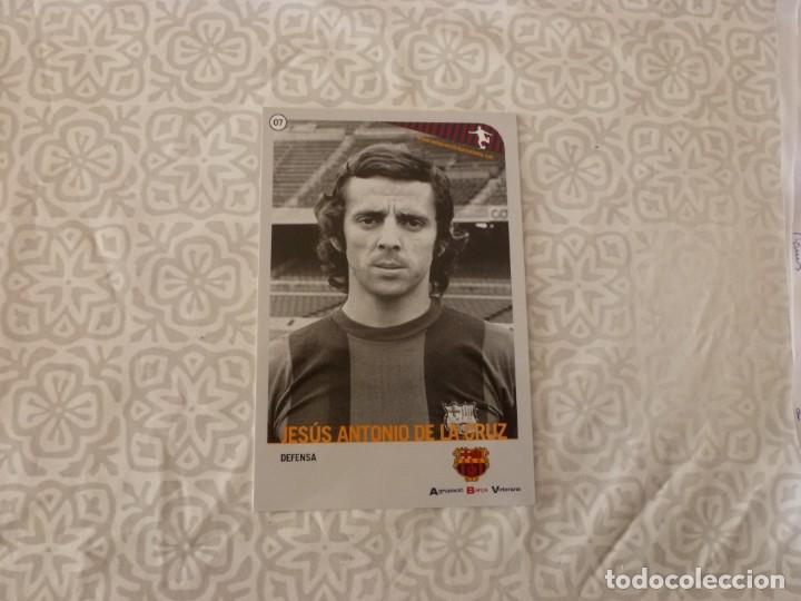 (ABJ-LLL) POSTAL DE LA CRUZ (F.C.BARCELONA)-EN REVERSO FICHA BARÇA (Coleccionismo Deportivo - Postales de Deportes - Fútbol)