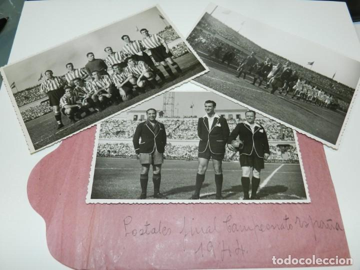 LOTE DE 3 POSTALES FINAL DE LA COPA DEL GENERALISIMO 1944 ATH BILBAO 2 - VALENCIA FC 0 (Coleccionismo Deportivo - Postales de Deportes - Fútbol)