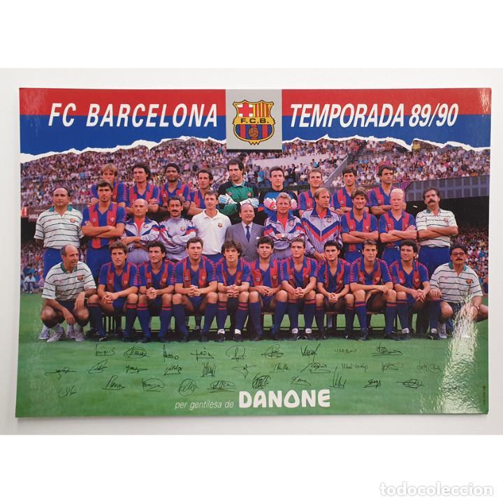 POSTAL PLANTILLA BLAUGRANA 89-90 BARÇA FUTBOL CLUB F.C BARCELONA FIRMAS - DANONE (Coleccionismo Deportivo - Postales de Deportes - Fútbol)