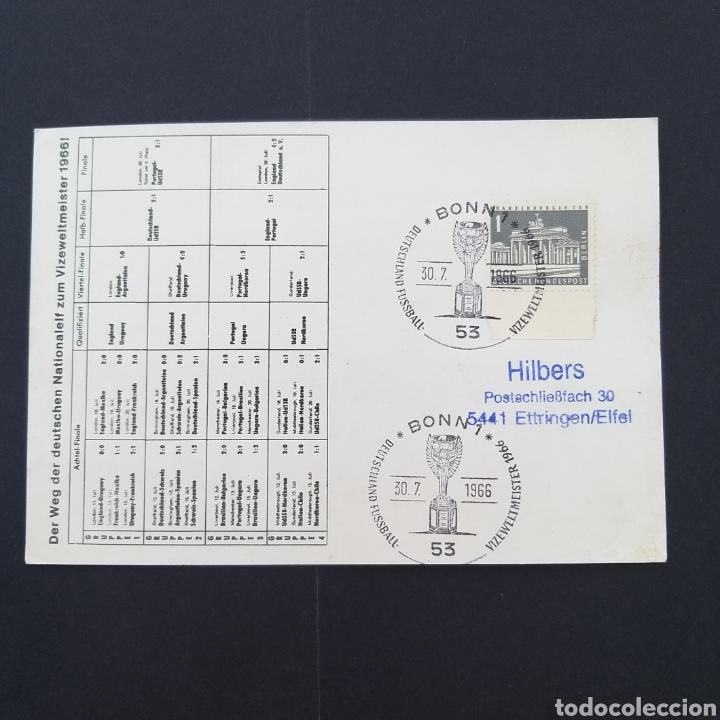 Coleccionismo deportivo: Rareza Tarjeta postal antigua mundial fútbol Alemania 1966 matasellos conmemorativo EP002 - Foto 2 - 252837975