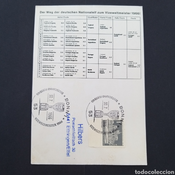 Coleccionismo deportivo: Rareza Tarjeta postal antigua mundial fútbol Alemania 1966 matasellos conmemorativo EP002 - Foto 3 - 252837975