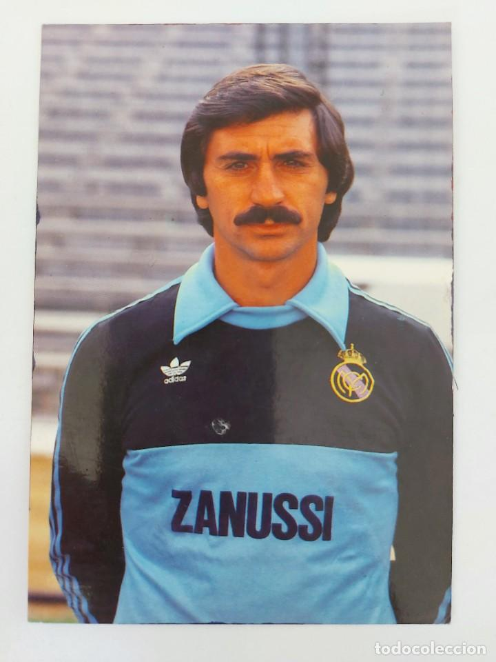 ANTIGUA POSTAL DEL PORTERO MIGUEL ANGEL JUGADOR DEL REAL MADRID - 1982 - PUBLICIDAD DE ZANUSSI EN L (Coleccionismo Deportivo - Postales de Deportes - Fútbol)