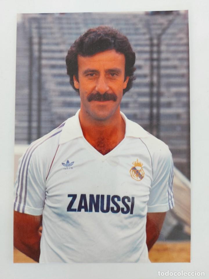 ANTIGUA POSTAL DE VICENTE DEL BOSQUE JUGADOR DEL REAL MADRID - 1982 - PUBLICIDAD DE ZANUSSI EN LA CA (Coleccionismo Deportivo - Postales de Deportes - Fútbol)