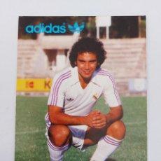 Coleccionismo deportivo: ANTIGUA FOTOGRAFIA TAMAÑO POSTAL DEL GRAN HUGO SANCHEZ JUGADOR DEL REAL MADRID PUBLICIDAD DE ADIDAS. Lote 252855695