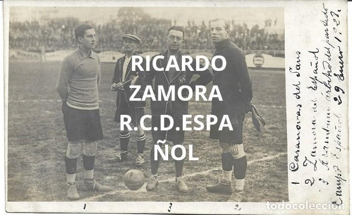 (F-210410)POSTAL FOTOGRAFICA RICARDO ZAMORA R.C.D.ESPAÑOL,1-U.D.SANS,1 - 29-1-1928 (Coleccionismo Deportivo - Postales de Deportes - Fútbol)