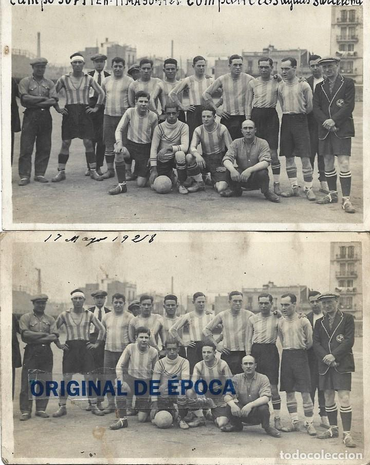 (F-210412)LOTE DE 2 POSTALES FOTOGRAFIAS CAMPO C.E.JUPITER EQUIPO FOOT-BALL AGUAS DE BARCELONA (Coleccionismo Deportivo - Postales de Deportes - Fútbol)