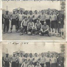 Coleccionismo deportivo: (F-210412)LOTE DE 2 POSTALES FOTOGRAFIAS CAMPO C.E.JUPITER EQUIPO FOOT-BALL AGUAS DE BARCELONA. Lote 256029560