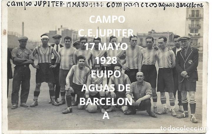 Coleccionismo deportivo: (F-210412)LOTE DE 2 POSTALES FOTOGRAFIAS CAMPO C.E.JUPITER EQUIPO FOOT-BALL AGUAS DE BARCELONA - Foto 2 - 256029560