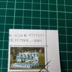 Coleccionismo deportivo: REAL CLUB CELTA VIGO FÚTBOL GALICIA FINALISTA 2001 COPA REY CAMPEÓN REAL ZARAGOZA EDIFIL 3805 USADO. Lote 261891565