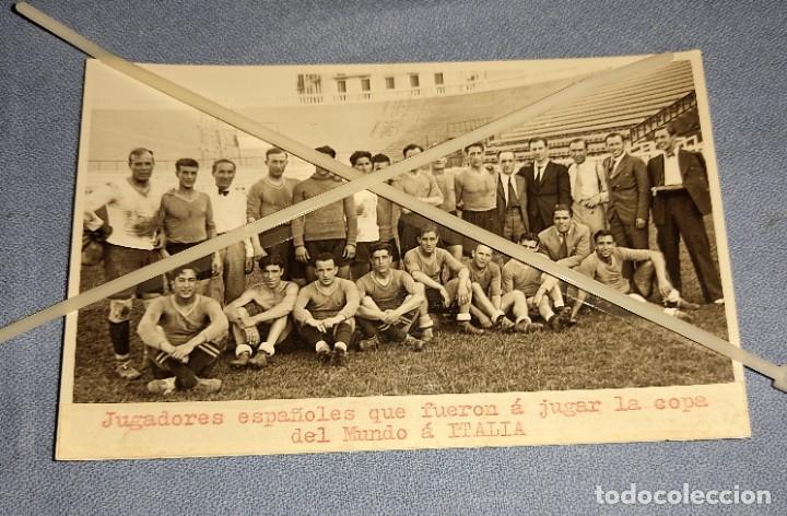 FOTO FUTBOL JUGADORES ESPAÑOLES QUE JUGARON LA COPA DEL MUNDO DE ITALIA AÑO 1934 ORIGINAL ZAMORA (Coleccionismo Deportivo - Postales de Deportes - Fútbol)
