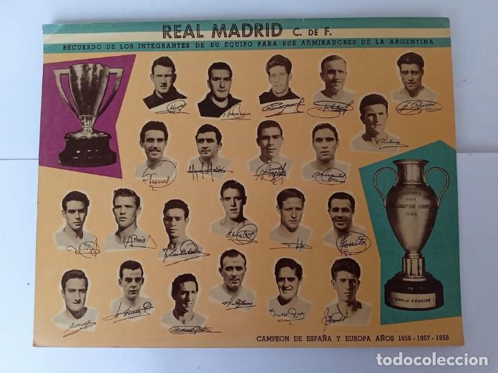 SUPER POSTAL (29 CM X 23 CM) REAL MADRID, EN SU PASO POR ARGENTINA - 1959 - (Coleccionismo Deportivo - Postales de Deportes - Fútbol)