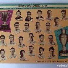 Coleccionismo deportivo: SUPER POSTAL (29 CM X 23 CM) REAL MADRID, EN SU PASO POR ARGENTINA - 1959 -. Lote 268938819