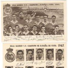Coleccionismo deportivo: DOS POSTALES DE FUTBOL - REAL MADRID C.F. - CAMPEÓN DE ESPAÑA DE COPA - AÑOS 1946 Y 1947. Lote 269336863