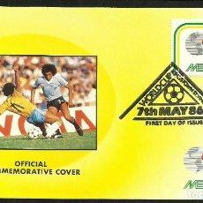 Coleccionismo deportivo: SAN VICENTE 1986 SOBRE PRIMER DIA CIRCULACION BRASIL URUGUAY MUNDIAL DE FUTBOL MEXICO 86 - FIFA FDC. Lote 276552778