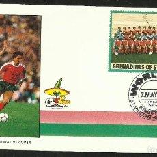Coleccionismo deportivo: GRENADINES 1986 SOBRE PRIMER DIA CIRCULACION PORTUGAL ALEMANIA COPA MUNDIAL FUTBOL MEXICO 86 FDC. Lote 276564533