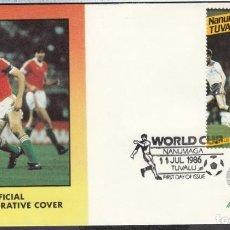 Coleccionismo deportivo: NANUMAGA 1986 SOBRE PRIMER DIA DE CIRCULACION MUNDIAL DE FUTBOL MEXICO 86 - HUNGRIA. Lote 276738378