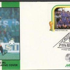 Coleccionismo deportivo: SAN VICENTE 1986 SOBRE PRIMER DIA DE CIRCULACION MUNDIAL DE FUTBOL MEXICO 86 - ESPAÑA. Lote 276738548