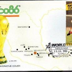 Coleccionismo deportivo: NANUMAGA 1986 SOBRE PRIMER DIA DE CIRCULACION MUNDIAL DE FUTBOL MEXICO 86 - ESCOCIA. Lote 276738773