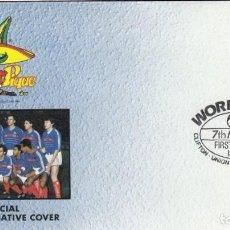 Coleccionismo deportivo: UNION ISLAND 1986 SOBRE PRIMER DIA DE CIRCULACION MUNDIAL DE FUTBOL MEXICO 86 - FRANCIA PLATINI. Lote 276738973