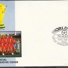Coleccionismo deportivo: UNION ISLAND 1986 SOBRE PRIMER DIA DE CIRCULACION MUNDIAL DE FUTBOL MEXICO 86 - BELGICA. Lote 276739093