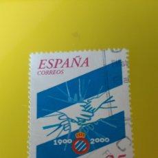 Coleccionismo deportivo: RCD ESPAÑOL FÚTBOL BARCELONA EDIFIL 3705 USADA CENTENARIO ESPAÑA 2000. Lote 277035668