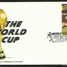 Coleccionismo deportivo: NANUMEA 1986 SOBRE PRIMER DIA CIRCULACION FDC COPA MUNDIAL FUTBOL FIFA ESCOCIA. Lote 277040873