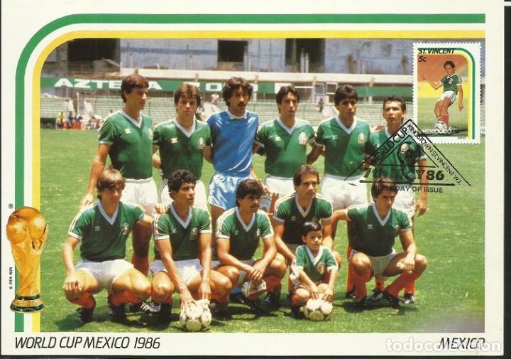 SAN VICENTE 1986 POSTAL DE GRAN TAMAÑO PRIMER DIA CIRCULACION FDC COPA MUNDIAL FUTBOL FIFA MEXICO 86 (Coleccionismo Deportivo - Postales de Deportes - Fútbol)