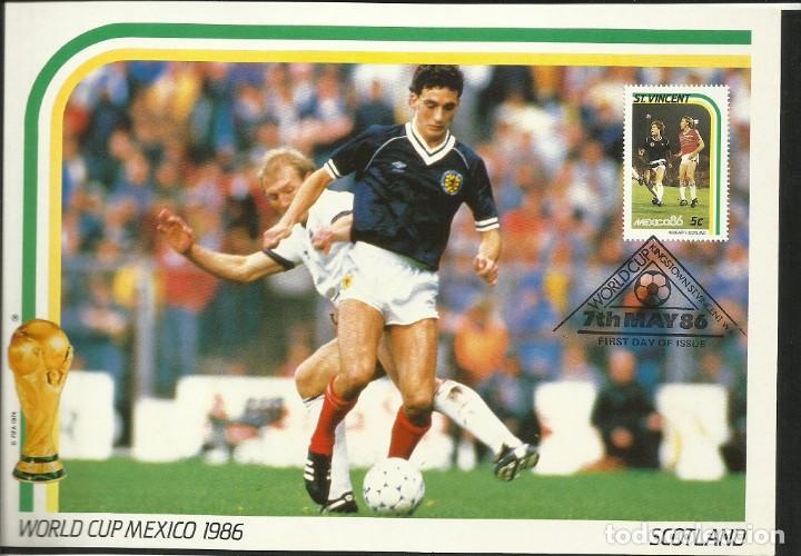 SAN VICENTE 1986 POSTAL GRAN TAMAÑO PRIMER DIA CIRCULACION FDC COPA MUNDIAL FUTBOL 86 ESCOCIA (Coleccionismo Deportivo - Postales de Deportes - Fútbol)