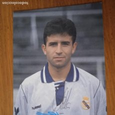 Coleccionismo deportivo: MILLA, REAL MADRID. POSTAL, AUTÓGRAFO IMPRESO Y ORIGINAL. Lote 287009408