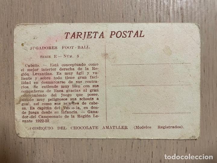 Coleccionismo deportivo: Cromo tarjeta postal Cubells (Valencia FC) chocolates Amatller - Foto 2 - 287751493