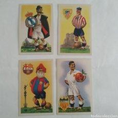 Coleccionismo deportivo: LOTE 4 POSTALES, EQUIPOS DE FÚTBOL SERIE A, MADRID, BILBAO, VALENCIA, BARCELONA, EDICIONES JUFRAN. Lote 294450928