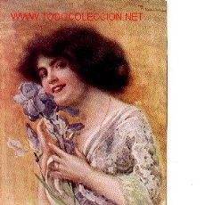 Postales: 7-688. POSTAL MUJER CON FLORES. Lote 1641156