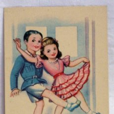 Postales: POSTAL NIÑOS ENAMORADOS BAILANDO DIBUJADA ZSOLT CON POESÍA EDICIONES CMB AÑOS 40 SIN CIRCULAR. Lote 172764870
