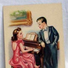 Postales: POSTAL NIÑOS ENAMORADOS PIANO DIBUJADA ZSOLT CON POESÍA EDICIONES CMB AÑOS 40 SIN CIRCULAR. Lote 5466657