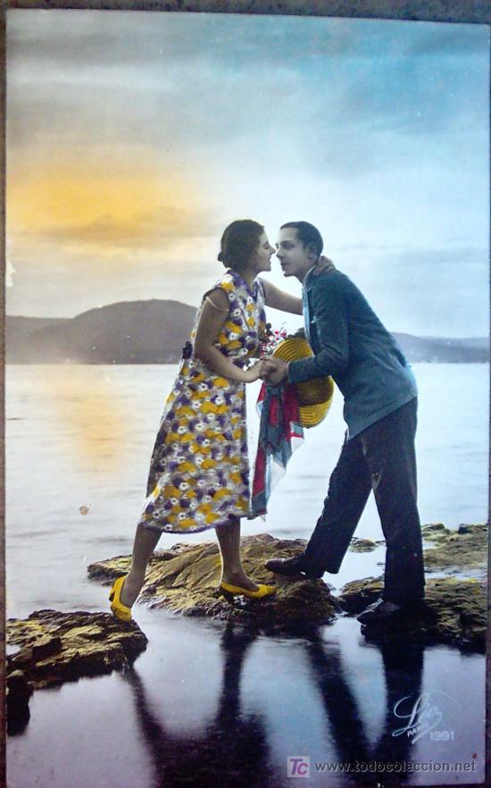 POSTAL PAREJA ROMANTICA , CIRCULADA (Postales - Postales Temáticas - Galantes y Mujeres)