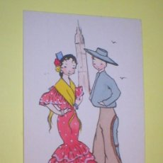 Postales: ANDALUCIA TIPOS ANDALUCES POSTAL ACUARELADA 1950. Lote 27253196