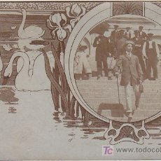 Postales: PS3452 POSTAL DE UN GRUPO DE PERSONAS EN UNA ESCALINATA Y CON MARCO FOTOGRÁFICO. SIN REFERENCIAS. Lote 14936747